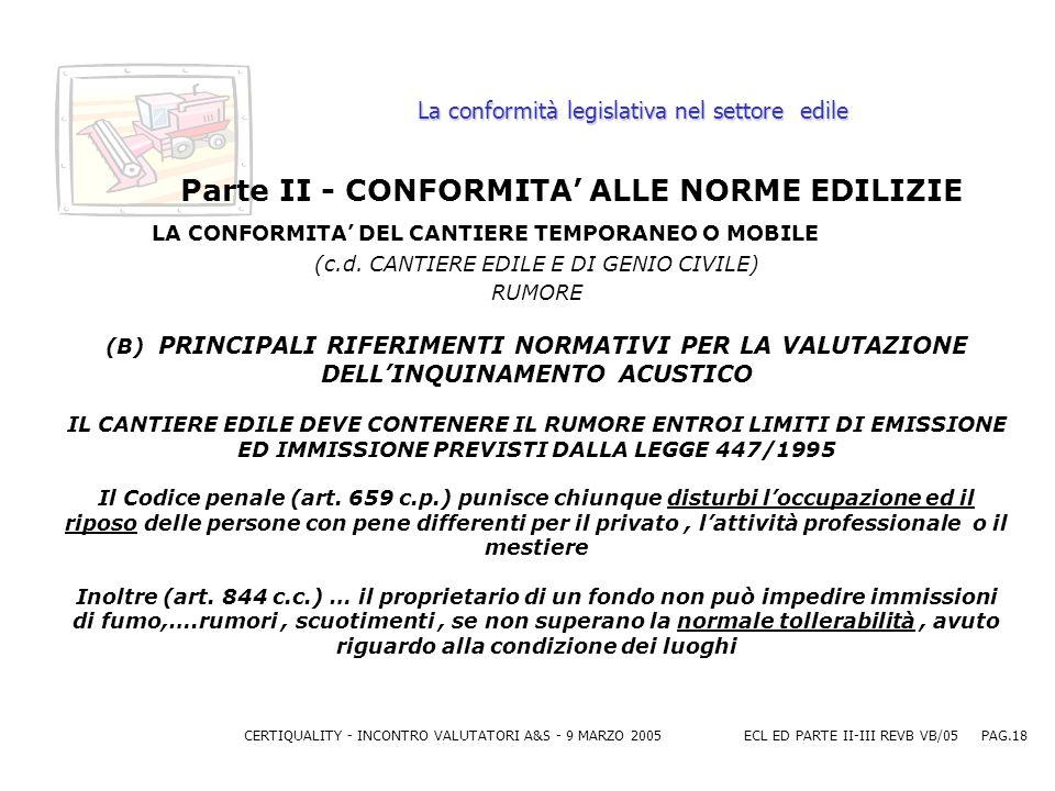 CERTIQUALITY - INCONTRO VALUTATORI A&S - 9 MARZO 2005ECL ED PARTE II-III REVB VB/05 PAG.18 La conformità legislativa nel settore edile Parte II - CONFORMITA ALLE NORME EDILIZIE LA CONFORMITA DEL CANTIERE TEMPORANEO O MOBILE (c.d.