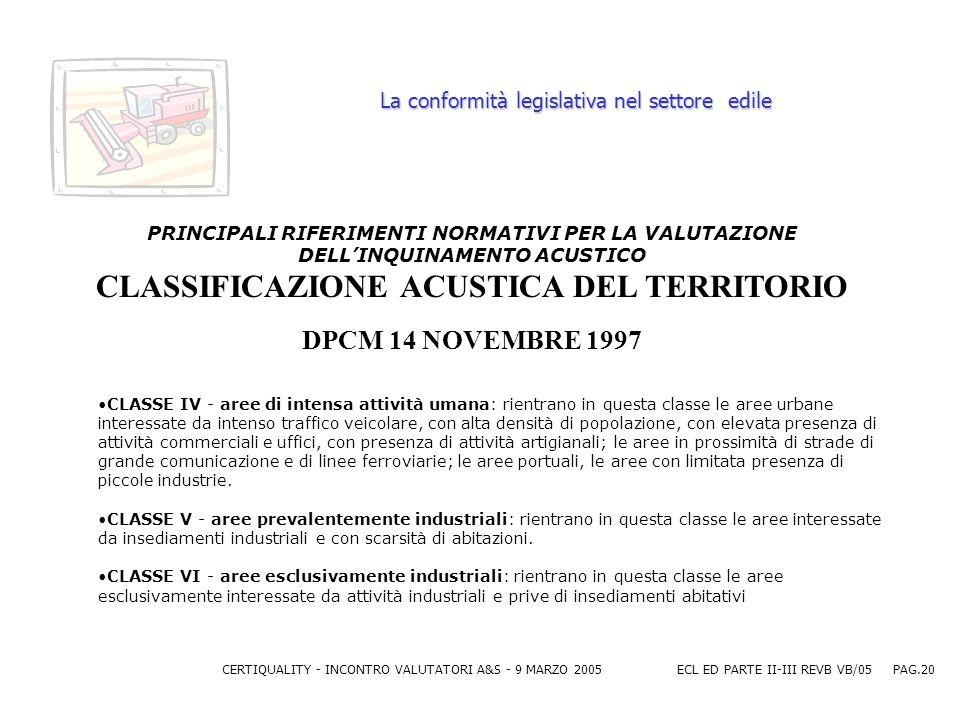 CERTIQUALITY - INCONTRO VALUTATORI A&S - 9 MARZO 2005ECL ED PARTE II-III REVB VB/05 PAG.20 La conformità legislativa nel settore edile PRINCIPALI RIFERIMENTI NORMATIVI PER LA VALUTAZIONE DELLINQUINAMENTO ACUSTICO CLASSIFICAZIONE ACUSTICA DEL TERRITORIO DPCM 14 NOVEMBRE 1997 CLASSE IV - aree di intensa attività umana: rientrano in questa classe le aree urbane interessate da intenso traffico veicolare, con alta densità di popolazione, con elevata presenza di attività commerciali e uffici, con presenza di attività artigianali; le aree in prossimità di strade di grande comunicazione e di linee ferroviarie; le aree portuali, le aree con limitata presenza di piccole industrie.