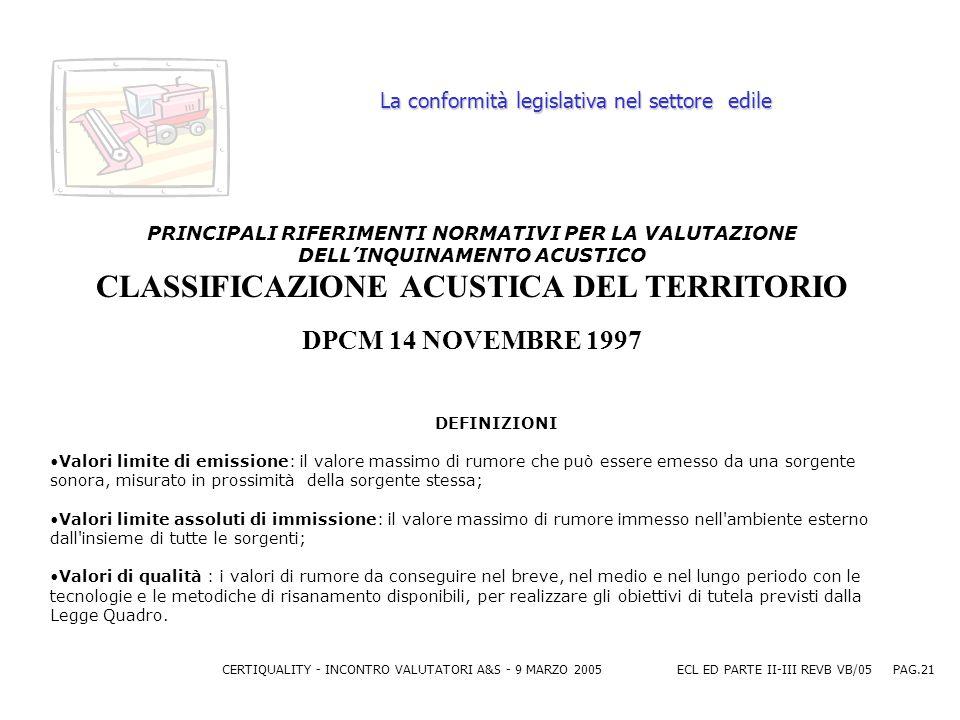 CERTIQUALITY - INCONTRO VALUTATORI A&S - 9 MARZO 2005ECL ED PARTE II-III REVB VB/05 PAG.21 La conformità legislativa nel settore edile PRINCIPALI RIFERIMENTI NORMATIVI PER LA VALUTAZIONE DELLINQUINAMENTO ACUSTICO CLASSIFICAZIONE ACUSTICA DEL TERRITORIO DPCM 14 NOVEMBRE 1997 DEFINIZIONI Valori limite di emissione: il valore massimo di rumore che può essere emesso da una sorgente sonora, misurato in prossimità della sorgente stessa; Valori limite assoluti di immissione: il valore massimo di rumore immesso nell ambiente esterno dall insieme di tutte le sorgenti; Valori di qualità : i valori di rumore da conseguire nel breve, nel medio e nel lungo periodo con le tecnologie e le metodiche di risanamento disponibili, per realizzare gli obiettivi di tutela previsti dalla Legge Quadro.