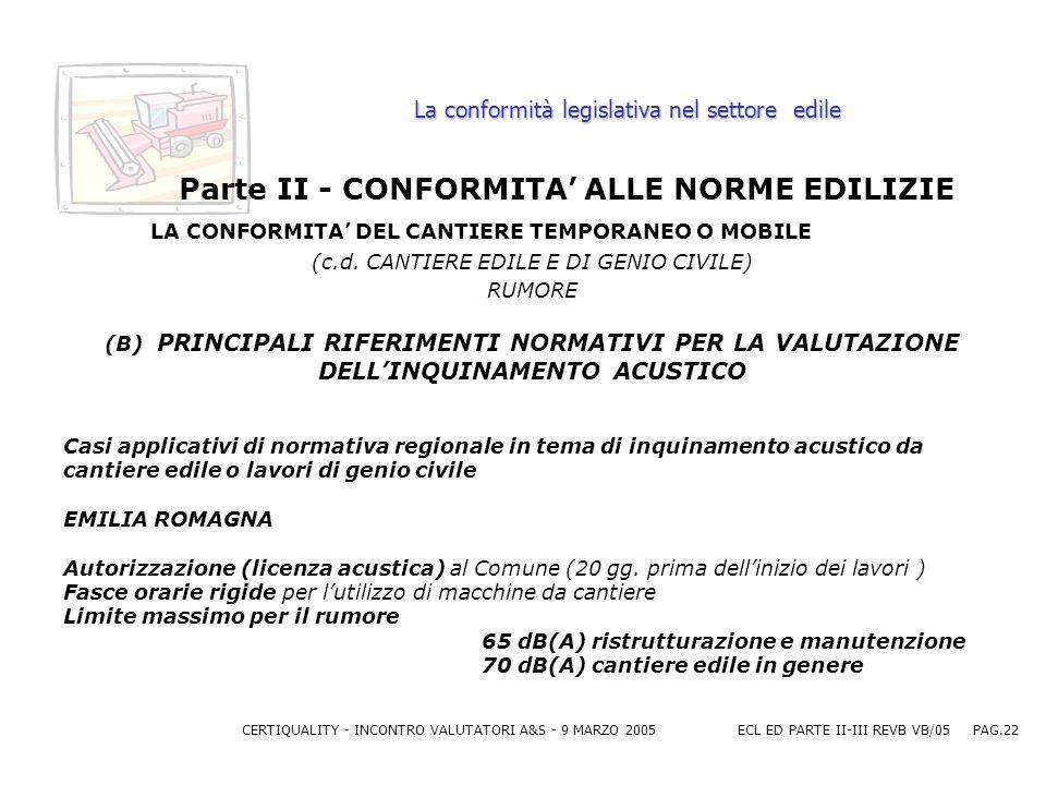 CERTIQUALITY - INCONTRO VALUTATORI A&S - 9 MARZO 2005ECL ED PARTE II-III REVB VB/05 PAG.22 La conformità legislativa nel settore edile Parte II - CONFORMITA ALLE NORME EDILIZIE LA CONFORMITA DEL CANTIERE TEMPORANEO O MOBILE (c.d.