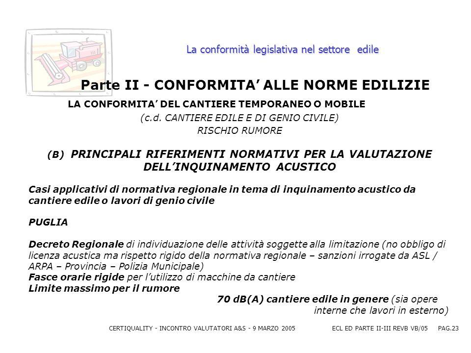 CERTIQUALITY - INCONTRO VALUTATORI A&S - 9 MARZO 2005ECL ED PARTE II-III REVB VB/05 PAG.23 La conformità legislativa nel settore edile Parte II - CONFORMITA ALLE NORME EDILIZIE LA CONFORMITA DEL CANTIERE TEMPORANEO O MOBILE (c.d.
