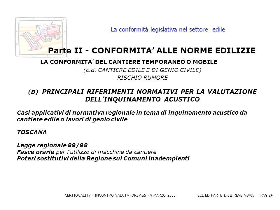 CERTIQUALITY - INCONTRO VALUTATORI A&S - 9 MARZO 2005ECL ED PARTE II-III REVB VB/05 PAG.24 La conformità legislativa nel settore edile Parte II - CONFORMITA ALLE NORME EDILIZIE LA CONFORMITA DEL CANTIERE TEMPORANEO O MOBILE (c.d.