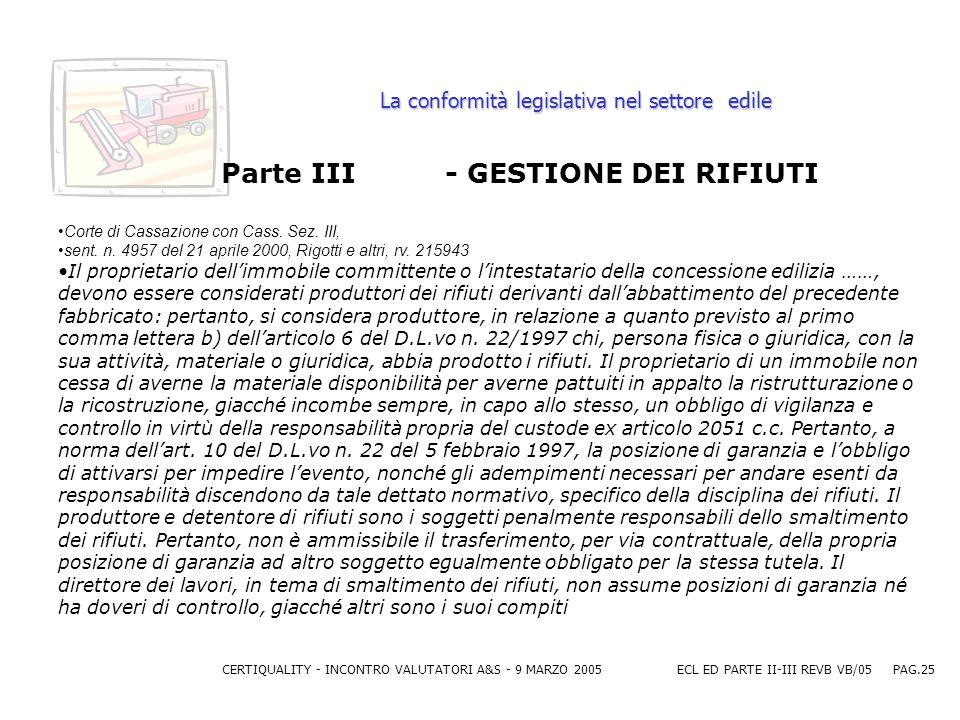 CERTIQUALITY - INCONTRO VALUTATORI A&S - 9 MARZO 2005ECL ED PARTE II-III REVB VB/05 PAG.25 La conformità legislativa nel settore edile Parte III - GESTIONE DEI RIFIUTI Corte di Cassazione con Cass.