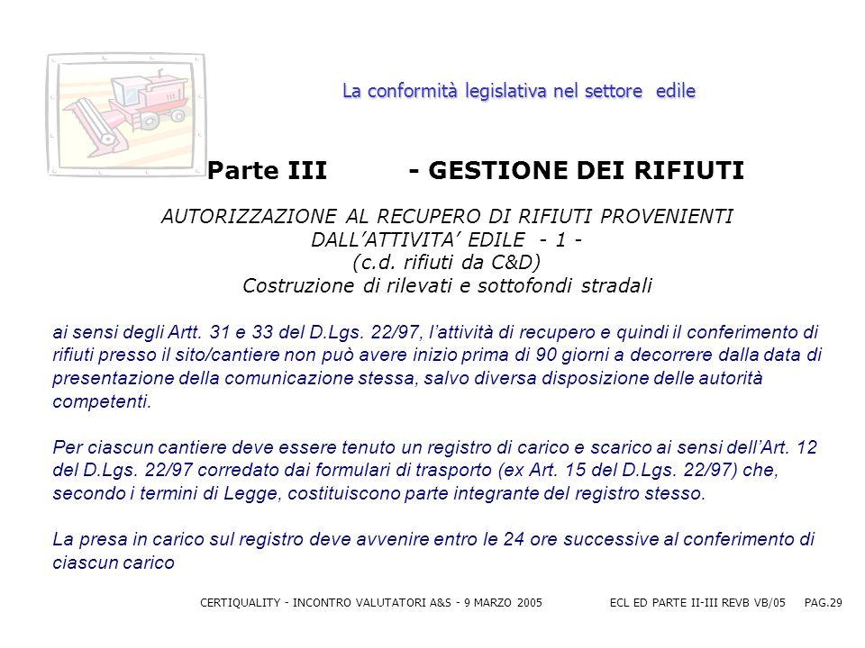 CERTIQUALITY - INCONTRO VALUTATORI A&S - 9 MARZO 2005ECL ED PARTE II-III REVB VB/05 PAG.29 La conformità legislativa nel settore edile Parte III - GESTIONE DEI RIFIUTI AUTORIZZAZIONE AL RECUPERO DI RIFIUTI PROVENIENTI DALLATTIVITA EDILE - 1 - (c.d.