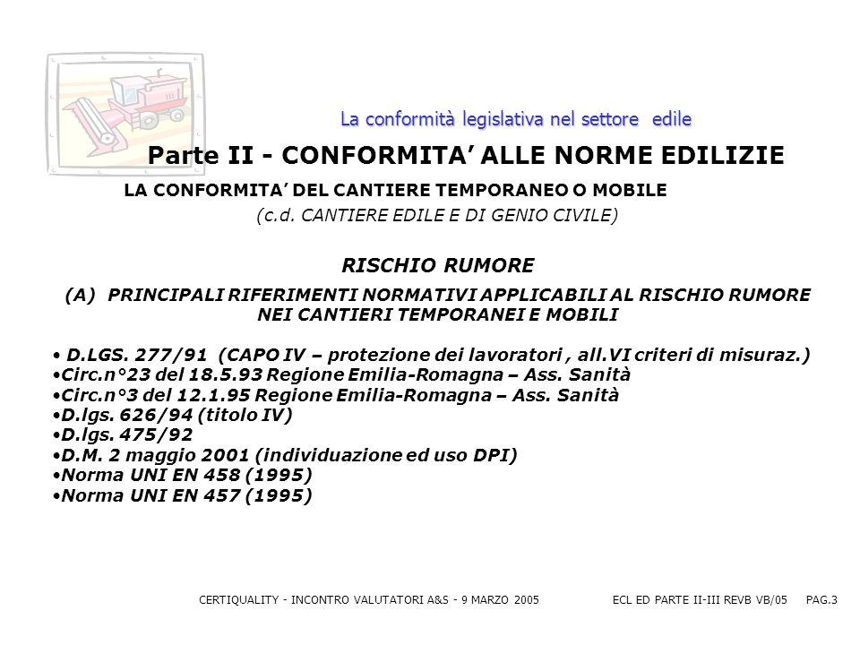 CERTIQUALITY - INCONTRO VALUTATORI A&S - 9 MARZO 2005ECL ED PARTE II-III REVB VB/05 PAG.3 La conformità legislativa nel settore edile Parte II - CONFORMITA ALLE NORME EDILIZIE LA CONFORMITA DEL CANTIERE TEMPORANEO O MOBILE (c.d.