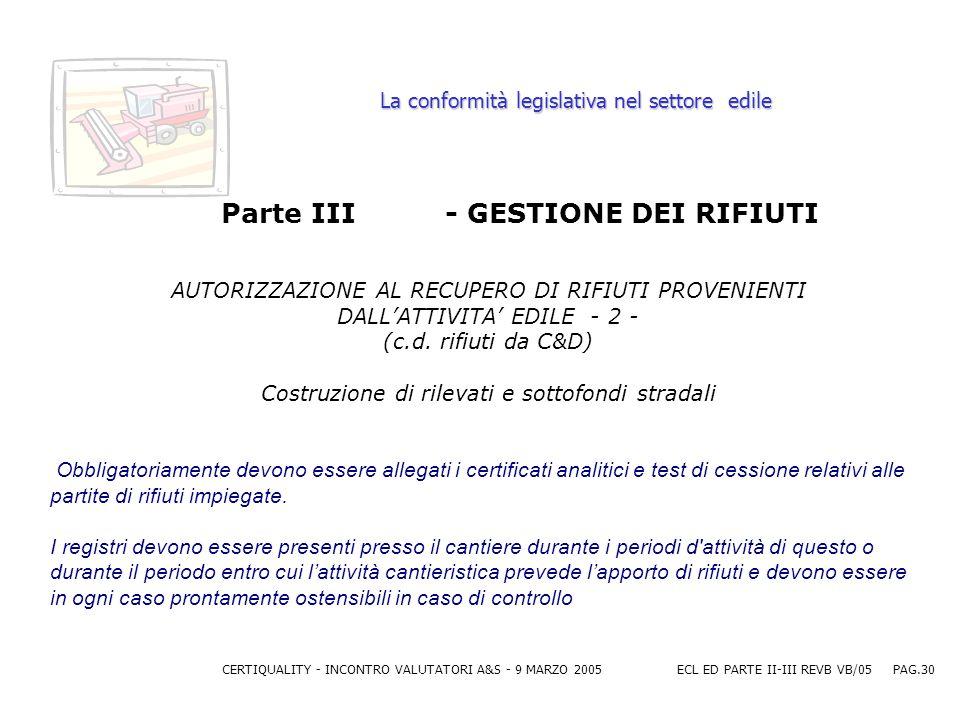 CERTIQUALITY - INCONTRO VALUTATORI A&S - 9 MARZO 2005ECL ED PARTE II-III REVB VB/05 PAG.30 La conformità legislativa nel settore edile Parte III - GESTIONE DEI RIFIUTI AUTORIZZAZIONE AL RECUPERO DI RIFIUTI PROVENIENTI DALLATTIVITA EDILE - 2 - (c.d.