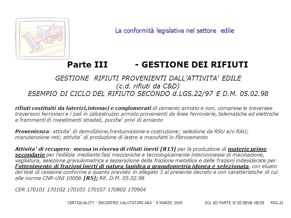 CERTIQUALITY - INCONTRO VALUTATORI A&S - 9 MARZO 2005ECL ED PARTE II-III REVB VB/05 PAG.31 La conformità legislativa nel settore edile Parte III - GESTIONE DEI RIFIUTI GESTIONE RIFIUTI PROVENIENTI DALLATTIVITA EDILE (c.d.