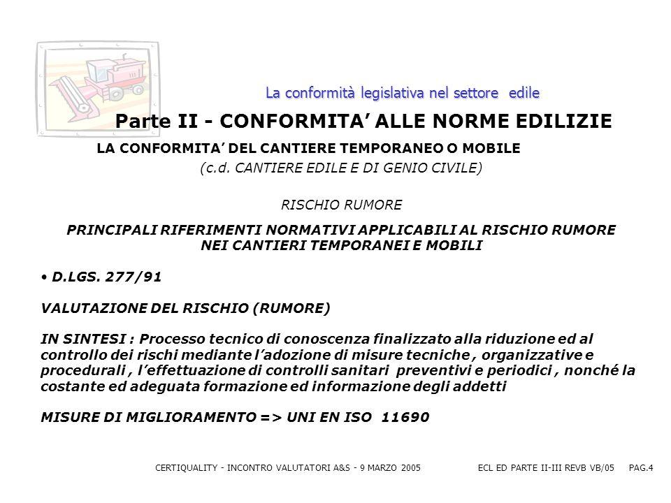 CERTIQUALITY - INCONTRO VALUTATORI A&S - 9 MARZO 2005ECL ED PARTE II-III REVB VB/05 PAG.4 La conformità legislativa nel settore edile Parte II - CONFORMITA ALLE NORME EDILIZIE LA CONFORMITA DEL CANTIERE TEMPORANEO O MOBILE (c.d.