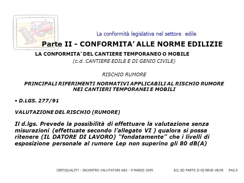 CERTIQUALITY - INCONTRO VALUTATORI A&S - 9 MARZO 2005ECL ED PARTE II-III REVB VB/05 PAG.5 La conformità legislativa nel settore edile Parte II - CONFORMITA ALLE NORME EDILIZIE LA CONFORMITA DEL CANTIERE TEMPORANEO O MOBILE (c.d.