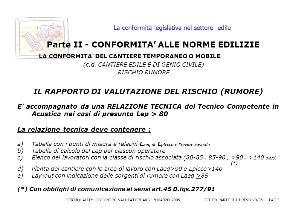 CERTIQUALITY - INCONTRO VALUTATORI A&S - 9 MARZO 2005ECL ED PARTE II-III REVB VB/05 PAG.9 La conformità legislativa nel settore edile Parte II - CONFORMITA ALLE NORME EDILIZIE LA CONFORMITA DEL CANTIERE TEMPORANEO O MOBILE (c.d.