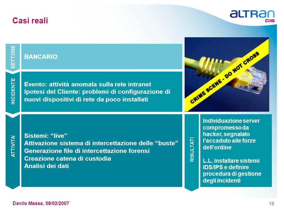 18 Danilo Massa, 08/02/2007 Casi reali Sistemi: live Attivazione sistema di intercettazione delle buste Generazione file di intercettazione forensi Cr