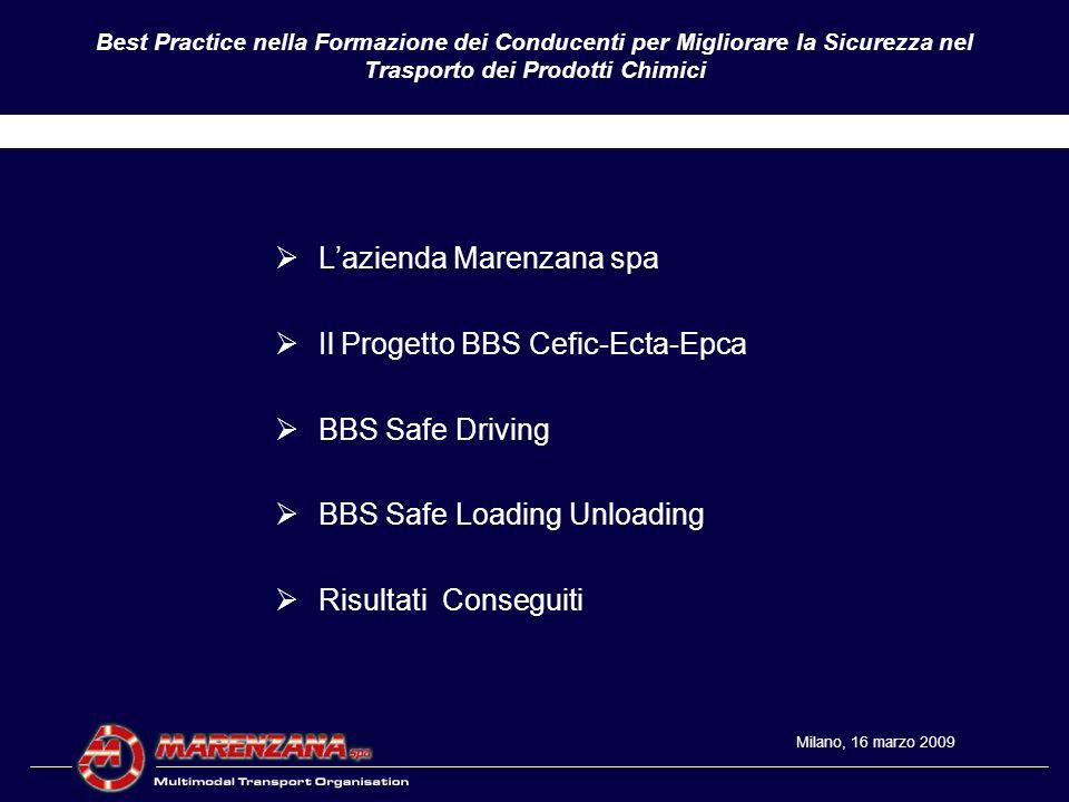 Best Practice nella Formazione dei Conducenti per Migliorare la Sicurezza nel Trasporto dei Prodotti Chimici Trasporto Stradale ed Intermodale di Prodotti Chimici Liquidi in Europa Flotta di 200 autobotti e 3.000 Tank Containers 25.000 shipments annui = 700.000 Tons Trasportate Azienda di Famiglia Fondata nel 1959 6 Depositi in Italia, 3 in Francia, 2 in Benelux, 1 in Germania Certificata ISO 9000 dal 1993 SQAS dal 1994 (Pilot Phase) Membro fondatore di ECTA nel 1999 Membro del Comitato Tecnico SQAS (T&A) del Cefic dal 2007 RESPONSIBLE CARE dal 13.02.2009.