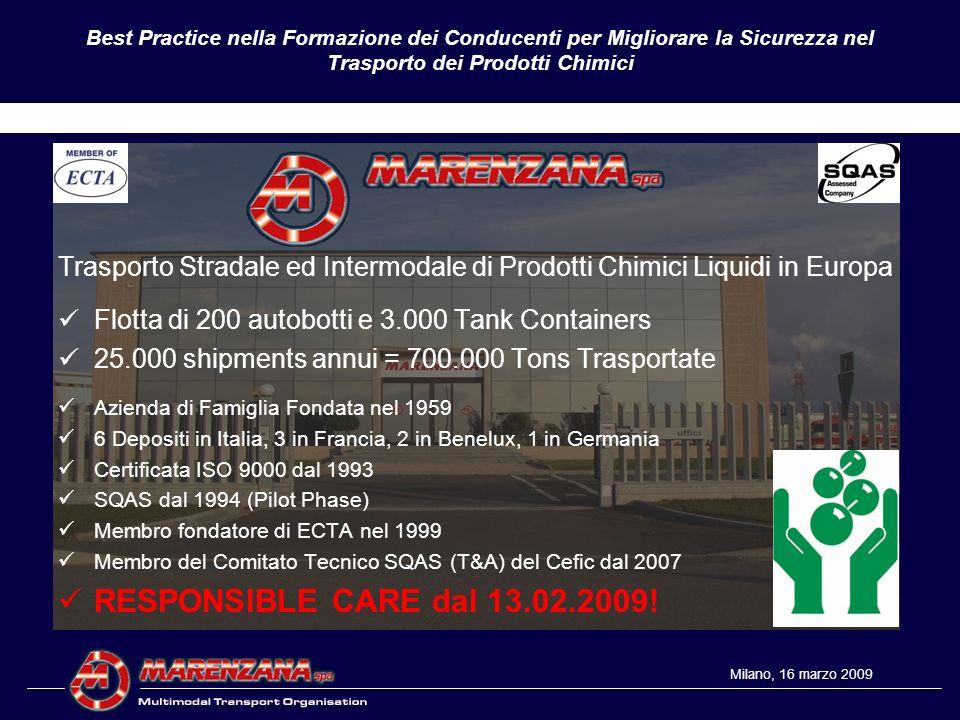 Best Practice nella Formazione dei Conducenti per Migliorare la Sicurezza nel Trasporto dei Prodotti Chimici BBS Safe Loading Unloading Milano, 16 marzo 2009