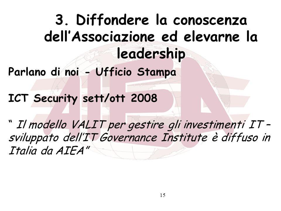 15 3. Diffondere la conoscenza dellAssociazione ed elevarne la leadership Parlano di noi - Ufficio Stampa ICT Security sett/ott 2008 Il modello VALIT