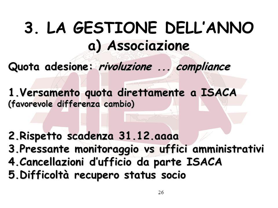 26 3. LA GESTIONE DELLANNO a) Associazione Quota adesione: rivoluzione... compliance 1.Versamento quota direttamente a ISACA (favorevole differenza ca