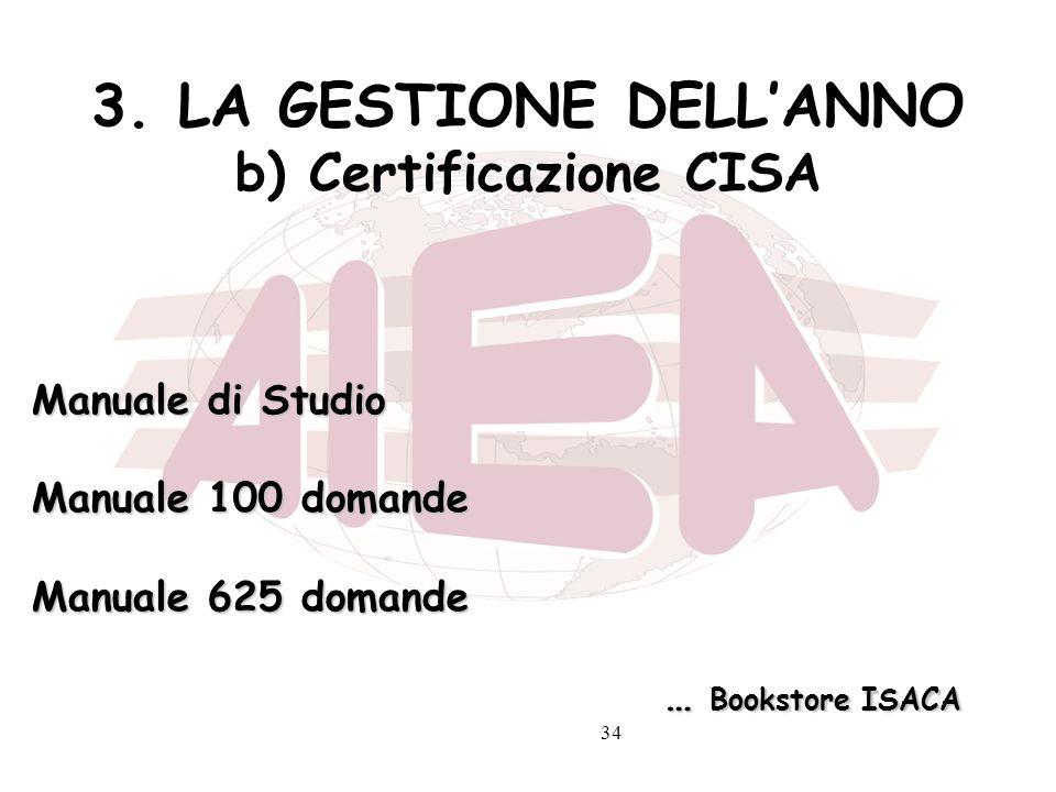 34 3. LA GESTIONE DELLANNO b) Certificazione CISA Manuale di Studio Manuale 100 domande Manuale 625 domande … Bookstore ISACA