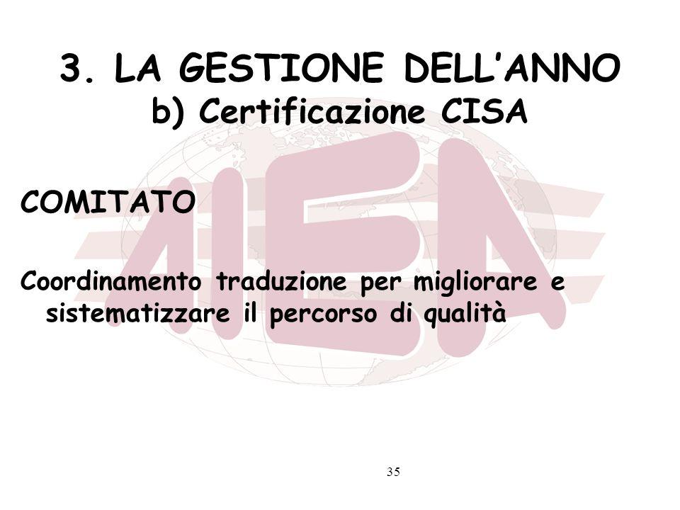 35 3. LA GESTIONE DELLANNO b) Certificazione CISA COMITATO Coordinamento traduzione per migliorare e sistematizzare il percorso di qualità
