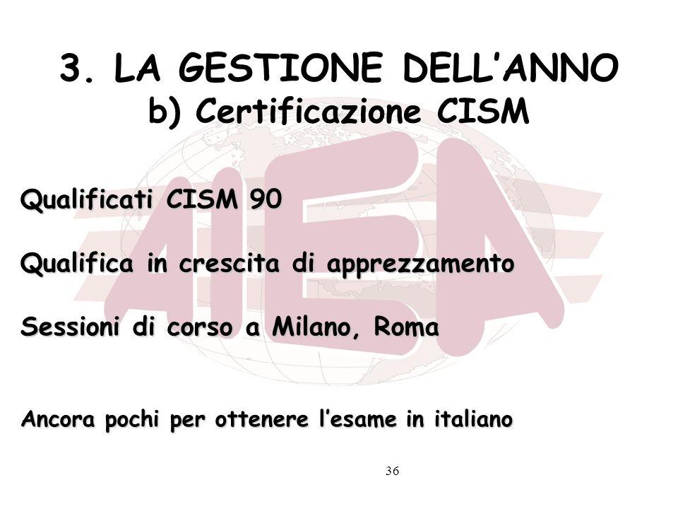 36 3. LA GESTIONE DELLANNO b) Certificazione CISM Qualificati CISM 90 Qualifica in crescita di apprezzamento Sessioni di corso a Milano, Roma Ancora p