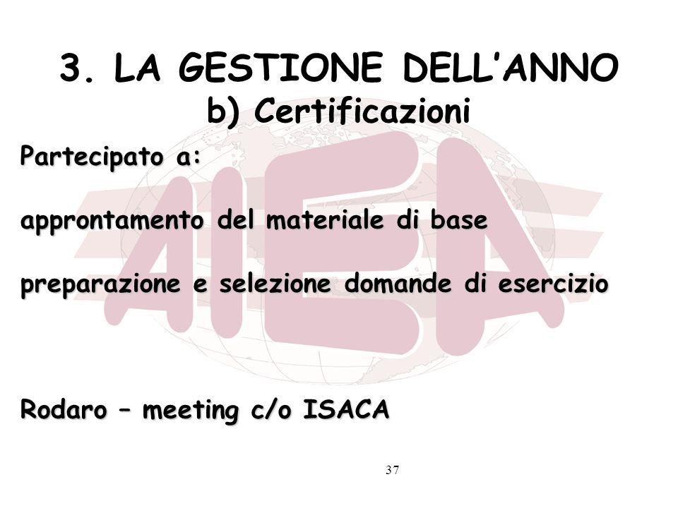 37 3. LA GESTIONE DELLANNO b) Certificazioni Partecipato a: approntamento del materiale di base preparazione e selezione domande di esercizio Rodaro –