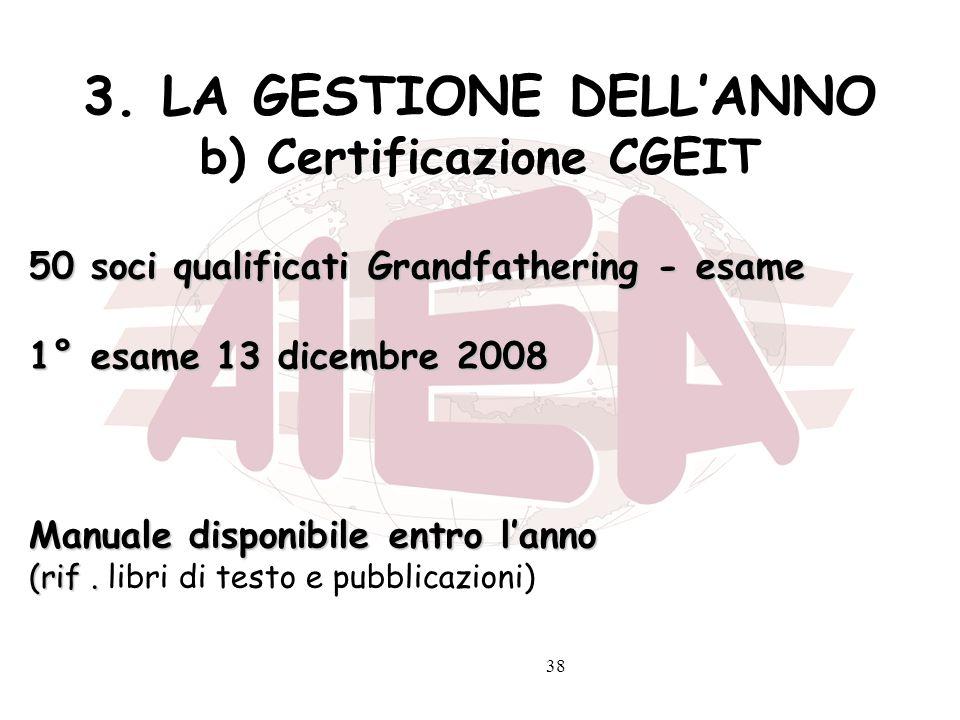 38 3. LA GESTIONE DELLANNO b) Certificazione CGEIT 50 soci qualificati Grandfathering - esame 1° esame 13 dicembre 2008 Manuale disponibile entro lann