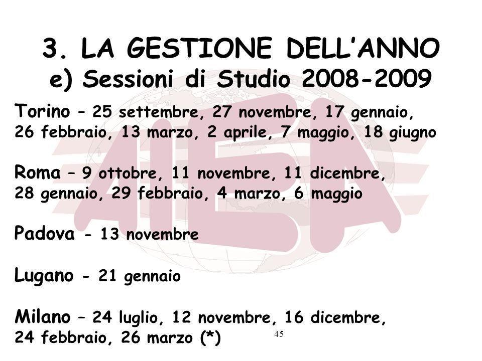 45 3. LA GESTIONE DELLANNO e) Sessioni di Studio 2008-2009 Torino – 25 settembre, 27 novembre, 17 gennaio, 26 febbraio, 13 marzo, 2 aprile, 7 maggio,
