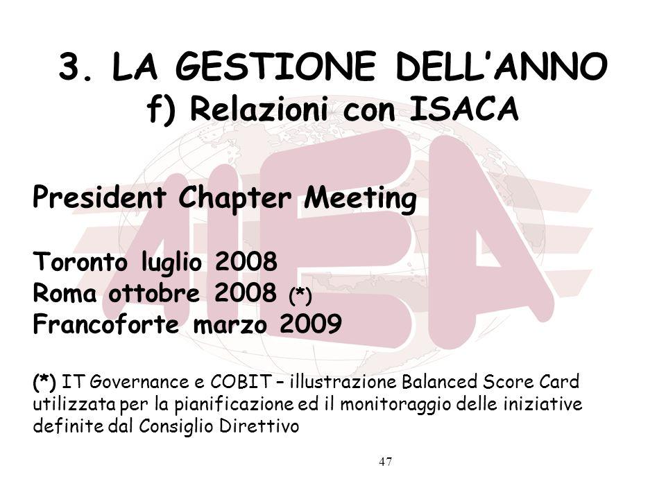 47 3. LA GESTIONE DELLANNO f) Relazioni con ISACA President Chapter Meeting Toronto luglio 2008 Roma ottobre 2008 (*) Francoforte marzo 2009 (*) IT Go