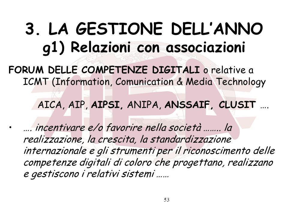 53 3. LA GESTIONE DELLANNO g1) Relazioni con associazioni FORUM DELLE COMPETENZE DIGITALI o relative a ICMT (Information, Comunication & Media Technol
