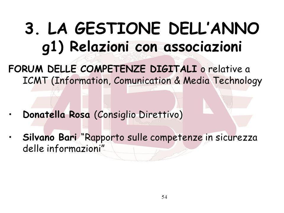 54 3. LA GESTIONE DELLANNO g1) Relazioni con associazioni FORUM DELLE COMPETENZE DIGITALI o relative a ICMT (Information, Comunication & Media Technol