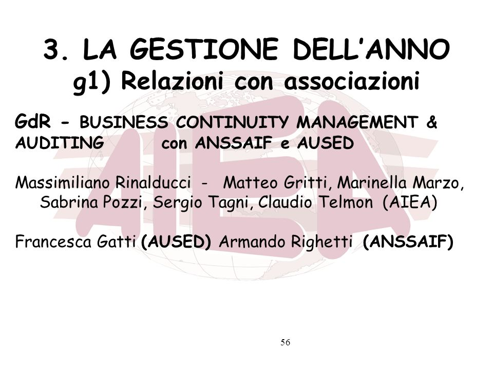 56 3. LA GESTIONE DELLANNO g1) Relazioni con associazioni GdR - BUSINESS CONTINUITY MANAGEMENT & AUDITING con ANSSAIF e AUSED Massimiliano Rinalducci