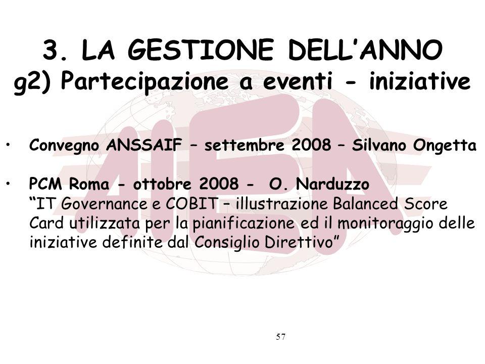 57 3. LA GESTIONE DELLANNO g2) Partecipazione a eventi - iniziative Convegno ANSSAIF – settembre 2008 – Silvano Ongetta PCM Roma - ottobre 2008 - O. N