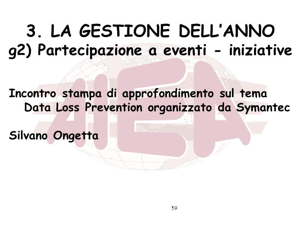 59 3. LA GESTIONE DELLANNO g2) Partecipazione a eventi - iniziative Incontro stampa di approfondimento sul tema Data Loss Prevention organizzato da Sy