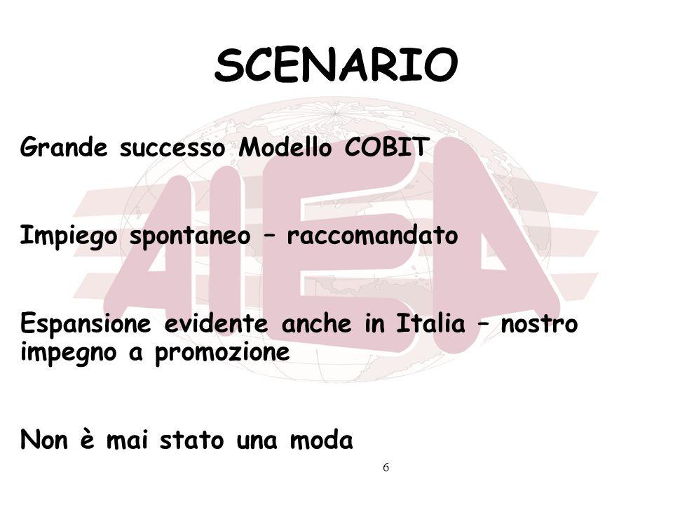 6 SCENARIO Grande successo Modello COBIT Impiego spontaneo – raccomandato Espansione evidente anche in Italia – nostro impegno a promozione Non è mai