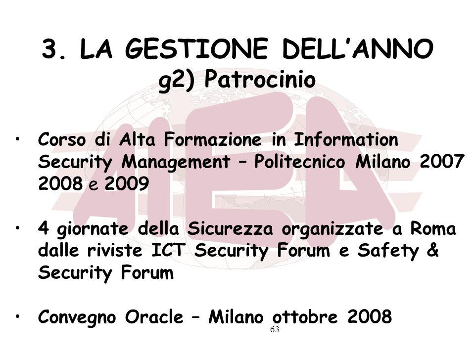 63 3. LA GESTIONE DELLANNO g2) Patrocinio Corso di Alta Formazione in Information Security Management – Politecnico Milano 2007 2008 e 2009 4 giornate
