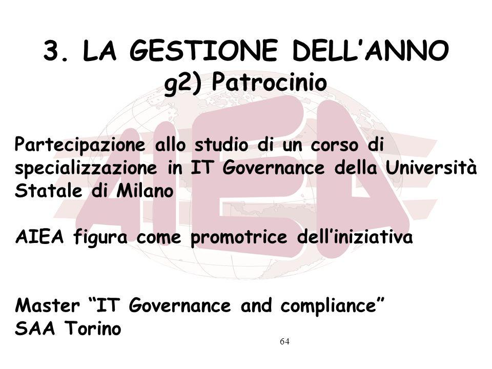 64 3. LA GESTIONE DELLANNO g2) Patrocinio Partecipazione allo studio di un corso di specializzazione in IT Governance della Università Statale di Mila