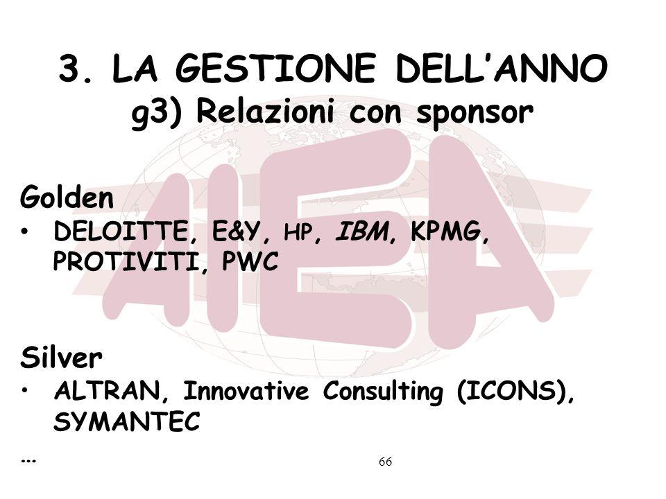 66 3. LA GESTIONE DELLANNO g3) Relazioni con sponsor Golden DELOITTE, E&Y, HP, IBM, KPMG, PROTIVITI, PWC Silver ALTRAN, Innovative Consulting (ICONS),