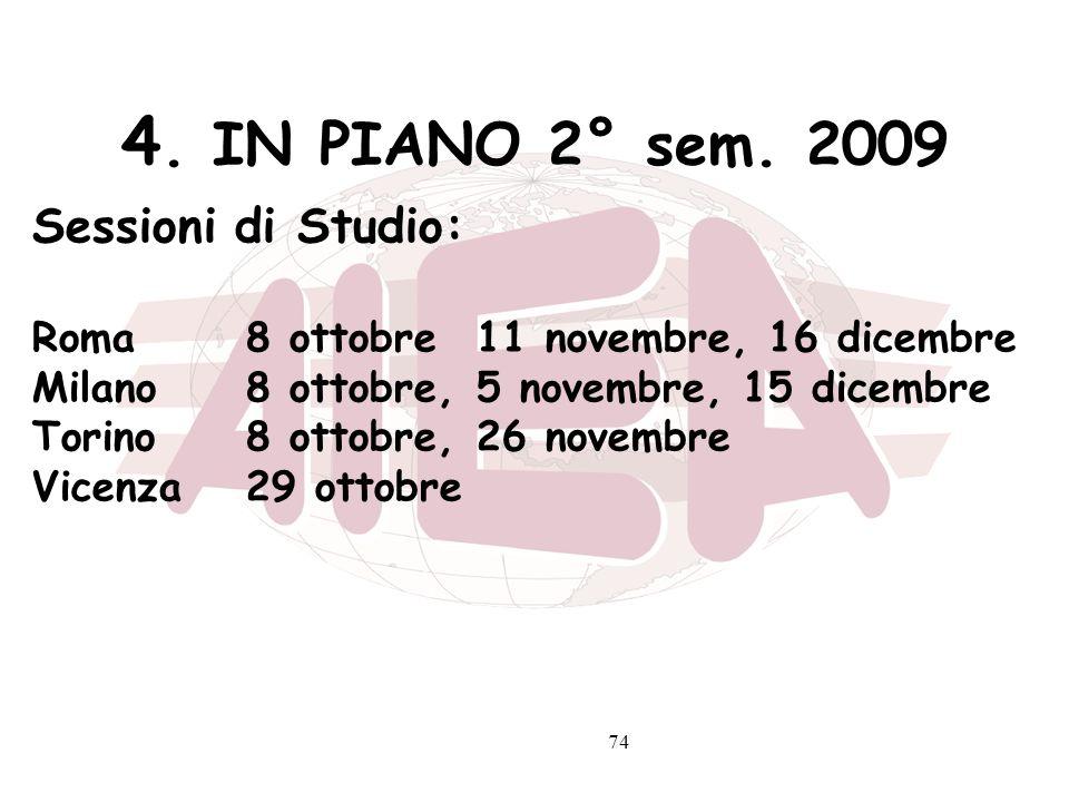 74 4. IN PIANO 2° sem. 2009 Sessioni di Studio: Roma8 ottobre 11 novembre, 16 dicembre Milano8 ottobre, 5 novembre, 15 dicembre Torino8 ottobre, 26 no