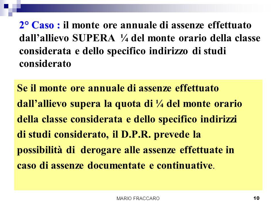 MARIO FRACCARO10 Se il monte ore annuale di assenze effettuato dallallievo supera la quota di ¼ del monte orario della classe considerata e dello specifico indirizzi di studi considerato, il D.P.R.