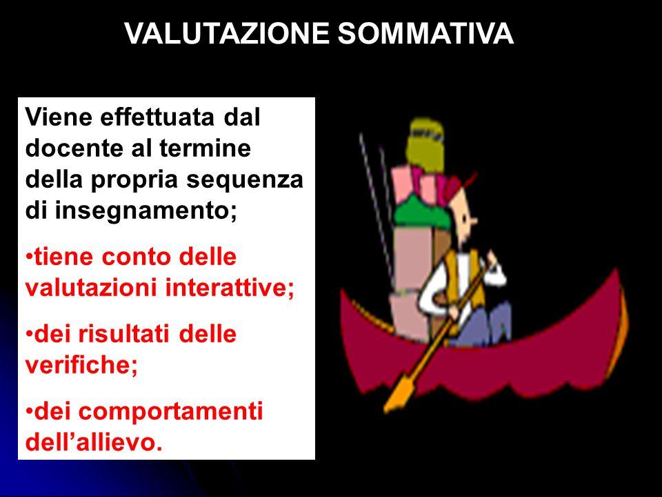 VALUTAZIONE SOMMATIVA Viene effettuata dal docente al termine della propria sequenza di insegnamento; tiene conto delle valutazioni interattive; dei r