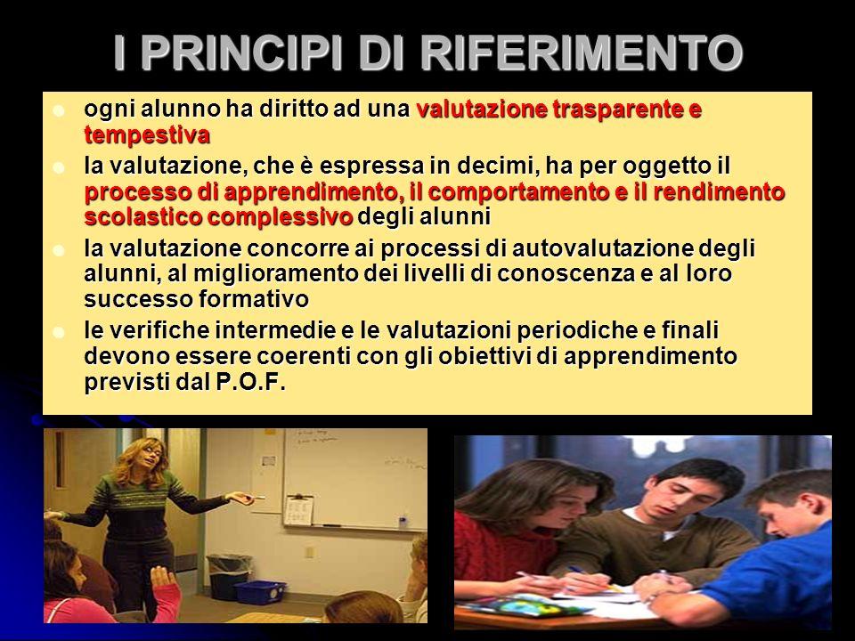I PRINCIPI DI RIFERIMENTO ogni alunno ha diritto ad una valutazione trasparente e tempestiva ogni alunno ha diritto ad una valutazione trasparente e t