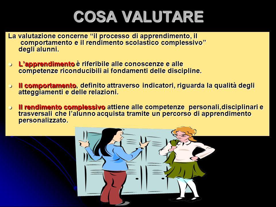 COSA VALUTARE La valutazione concerne il processo di apprendimento, il comportamento e il rendimento scolastico complessivo degli alunni. Lapprendimen