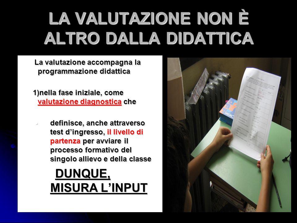 LA VALUTAZIONE NON È ALTRO DALLA DIDATTICA La valutazione accompagna la programmazione didattica La valutazione accompagna la programmazione didattica
