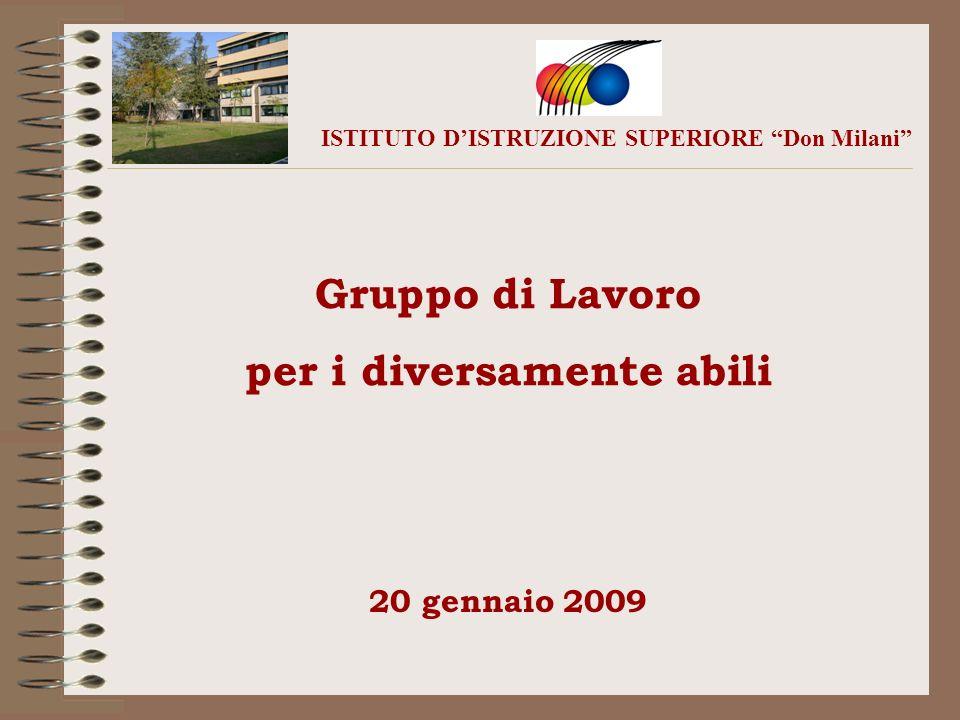 Gruppo di Lavoro per i diversamente abili ISTITUTO DISTRUZIONE SUPERIORE Don Milani 20 gennaio 2009