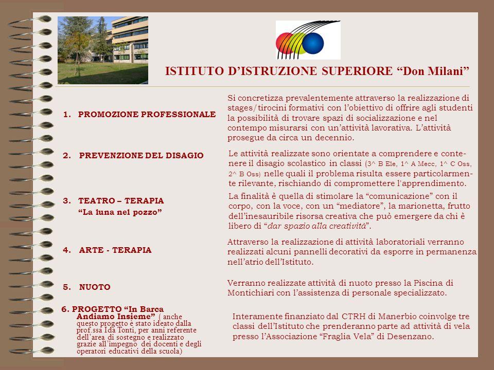 ISTITUTO DISTRUZIONE SUPERIORE Don Milani 1.PROMOZIONE PROFESSIONALE Si concretizza prevalentemente attraverso la realizzazione di stages/tirocini for