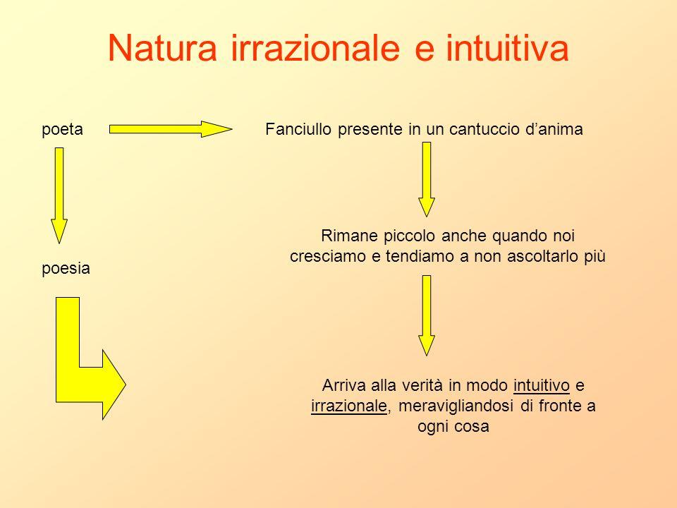 Natura irrazionale e intuitiva poetaFanciullo presente in un cantuccio danima Rimane piccolo anche quando noi cresciamo e tendiamo a non ascoltarlo pi