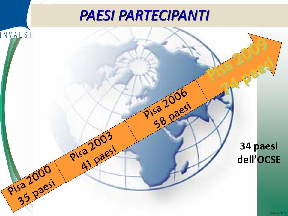 © Censis 2010 PAESI PARTECIPANTI Pisa 2000 35 paesi Pisa 2009 74 paesi Pisa 2009 74 paesi 34 paesi dellOCSE Pisa 2003 41 paesi Pisa 2006 58 paesi PAESI PARTECIPANTI