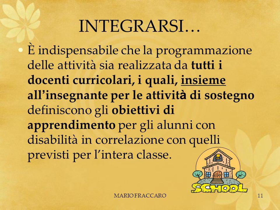 MARIO FRACCARO11 INTEGRARSI… È indispensabile che la programmazione delle attività sia realizzata da tutti i docenti curricolari, i quali, insieme all