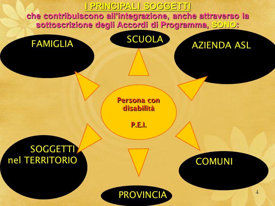 MARIO FRACCARO4 Persona con disabilitàP.E.I. I PRINCIPALI SOGGETTI che contribuiscono allintegrazione, anche attraverso la sottoscrizione degli Accord