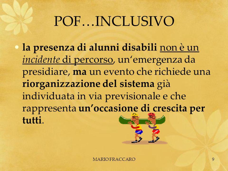 MARIO FRACCARO9 POF…INCLUSIVO la presenza di alunni disabili non è un incidente di percorso, unemergenza da presidiare, ma un evento che richiede una