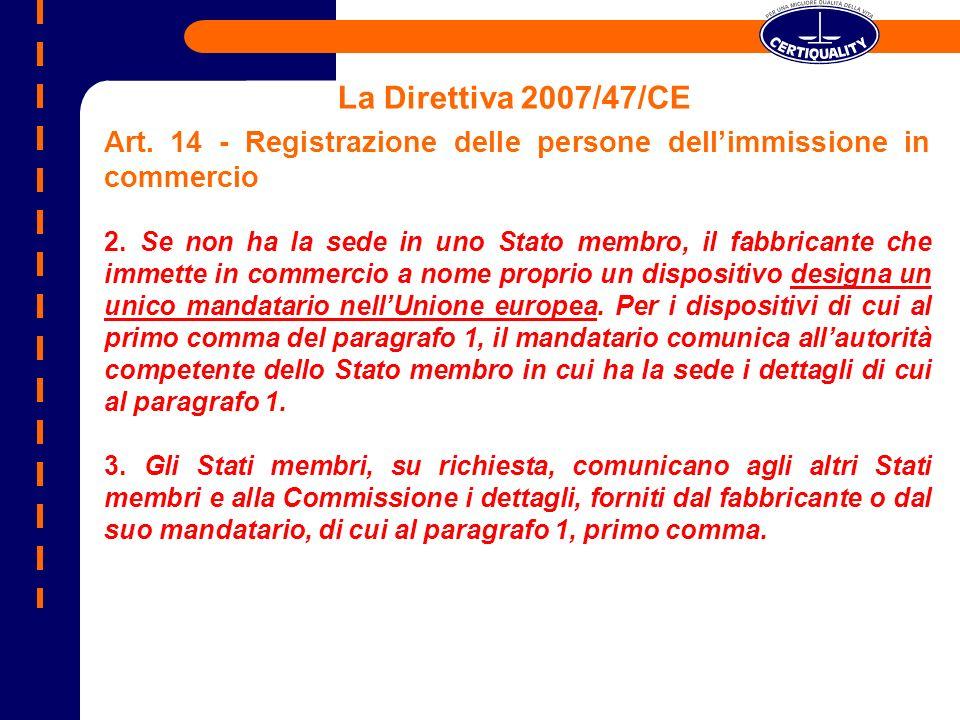 La Direttiva 2007/47/CE Art. 14 - Registrazione delle persone dellimmissione in commercio 2. Se non ha la sede in uno Stato membro, il fabbricante che