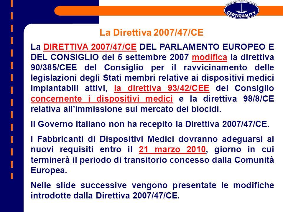 La DIRETTIVA 2007/47/CE DEL PARLAMENTO EUROPEO E DEL CONSIGLIO del 5 settembre 2007 modifica la direttiva 90/385/CEE del Consiglio per il ravvicinamen